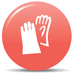 an icon showing two rubber gloves to indicate cleaning